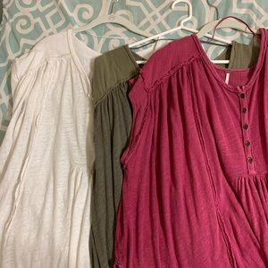 set of 3 free people tunics